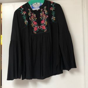 Loft embroidered bell sleeve top
